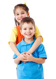 Two happy kids standing together Stock Image