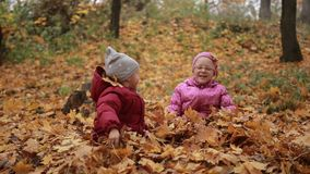 Two happy kids throwing fallen leaves up in fall. Laughing siblings throwing yellow maple leaves up in autumn park. Cute toddler boy and teenage sister sitting stock video