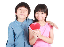 Two happy kids with valentines heart Royalty Free Stock Photography