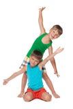 Two happy little boys Stock Photos
