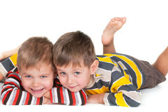 Two happy little brothers Stock Image