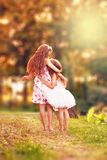 Two Happy little girl embracing and smiling at summer day, back. Two Cute little girl embracing and smiling at summer day, back view stock photos