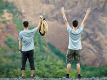 Two happy men enjoying nature Royalty Free Stock Photo
