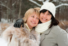 Two happy middle-aged women Royalty Free Stock Photos