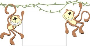 Two happy monkeys with blank board vector illustration