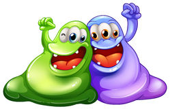 Two happy monsters Stock Images
