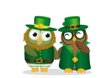 Two happy owls in national costume at Patrick`s Day holding hand Royalty Free Stock Photos