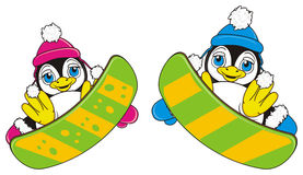 Two happy penguins riding on the snowboard. Penguin girl in pink warm clothers and penguin boy in blue warm clothers riding together on snowboards stock illustration
