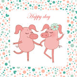 Two Happy pigs, piggy girl with a flower in a hand. Vector funny illustration for Valentine`s Day, wedding design, scrapbook, textiles. Cartoon style. Romantic Royalty Free Stock Photos