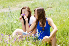 Two happy pretty friends playing with flowers in Stock Photography