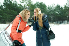 Two happy pretty girls laughing on a winter day Stock Image