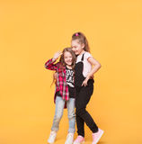 Two happy pretty young sisters, hugs smiling laughing Royalty Free Stock Photos
