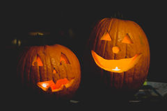 Two Happy Pumpkins Stock Image