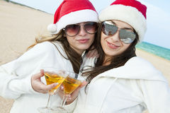 Two happy Santa Clause having fun Royalty Free Stock Images