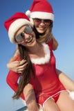Two happy  Santa Clause having fun Royalty Free Stock Photography