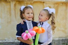 Two happy schollgirls Royalty Free Stock Image