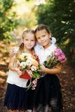 Two happy schoolgirls stock photos