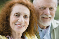 Two Happy Seniors. Closeup Portrait of Two Happy Seniors Smiling To Camera stock images