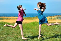 Two happy sisters Royalty Free Stock Images