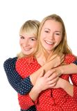 Two happy sisters Stock Photos