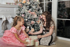 Two Happy Sisters at Christmas Stock Image