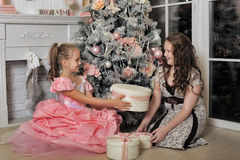Two Happy Sisters at Christmas Royalty Free Stock Image