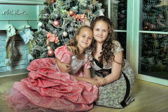 Two Happy Sisters at Christmas Royalty Free Stock Images