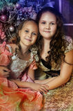 Two Happy Sisters at Christmas Royalty Free Stock Photos