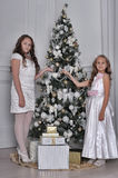 Two Happy Sisters at Christmas Stock Photo