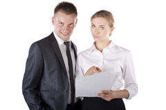 Two happy smiling cheerful business people working Royalty Free Stock Image