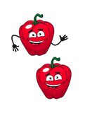 Two happy smiling red bell peppers Stock Photos