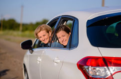 Two happy smiling women in a car Royalty Free Stock Photography