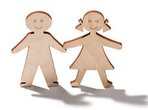 Two happy smiling wooden children Stock Images
