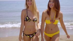 Two happy smiling young women on a beach stock footage