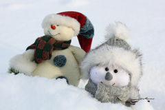 Two happy snowman Royalty Free Stock Photos