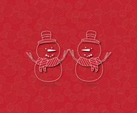 Two Happy Snowman on red background Stock Image