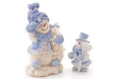 Two happy snowmen Stock Photo