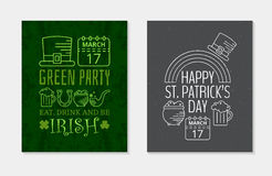 Two Happy St. Patricks day grunge vintage posters. Stock Image