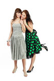Two happy student girls. In dress stock photo