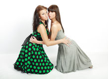 Two happy student girls. Two happy student in dress on the knees stock images