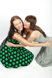 Two happy student girls. In dress smiling royalty free stock photo