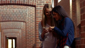 Two happy students chatting to each other. In a hallway stock footage