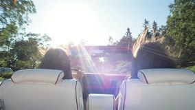 Two Happy Traveler Woman In Cabriolet Car stock video footage