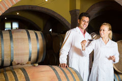 Two happy wine house workers checking quality of product Royalty Free Stock Photo