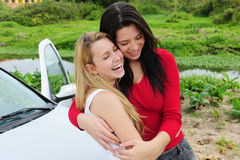 Two happy women on car trip Royalty Free Stock Photography