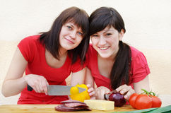 Two happy women cooking Royalty Free Stock Photography