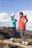 Two happy women hikers showing OK sign Royalty Free Stock Images