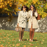 Two happy women in park at fall outdoors Royalty Free Stock Images