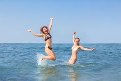 Two happy women in sea Royalty Free Stock Photography