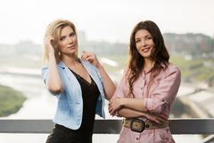 Two happy women standing on the bridge Royalty Free Stock Image